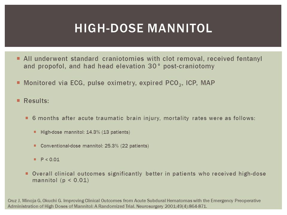 high-dose mannitol All underwent standard craniotomies with clot removal, received fentanyl and propofol, and had head elevation 30° post-craniotomy.
