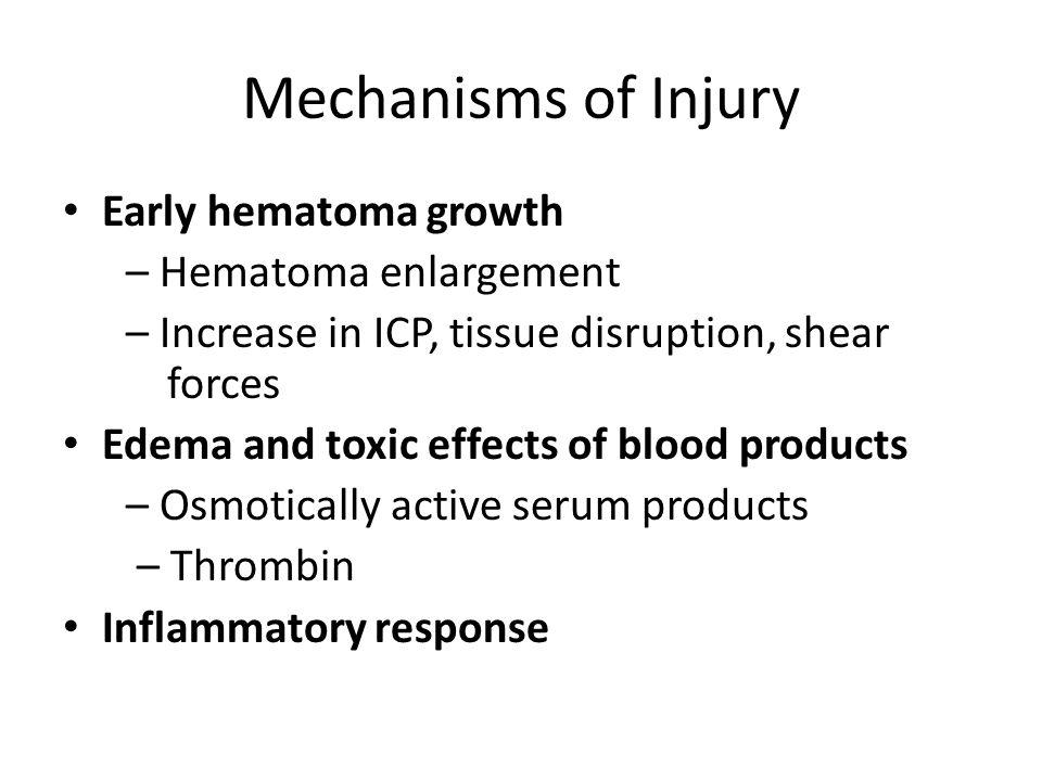 Mechanisms of Injury Early hematoma growth – Hematoma enlargement