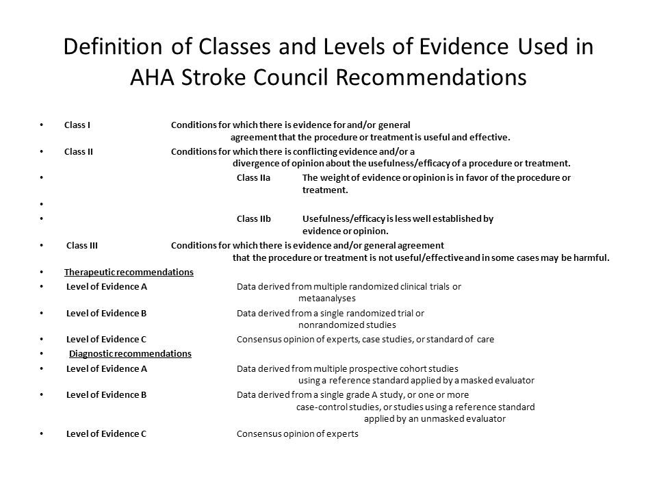 Definition of Classes and Levels of Evidence Used in AHA Stroke Council Recommendations