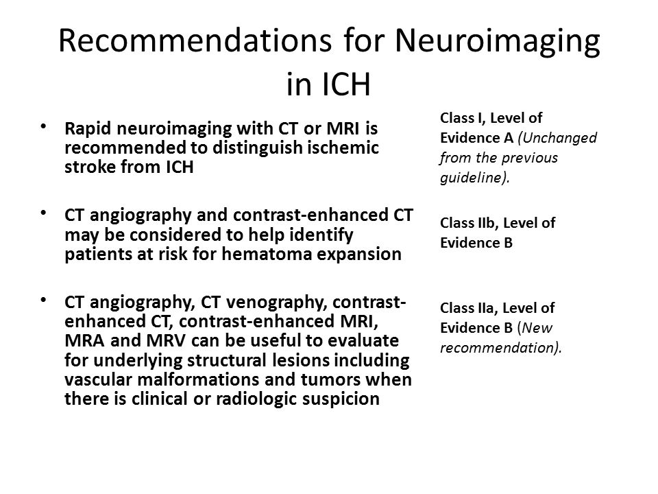 Recommendations for Neuroimaging in ICH