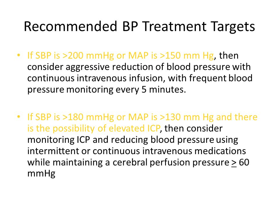 Recommended BP Treatment Targets