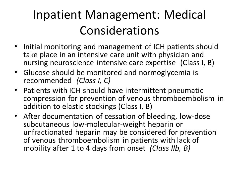 Inpatient Management: Medical Considerations