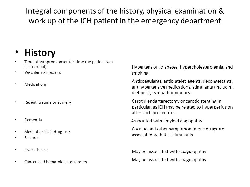 Integral components of the history, physical examination & work up of the ICH patient in the emergency department