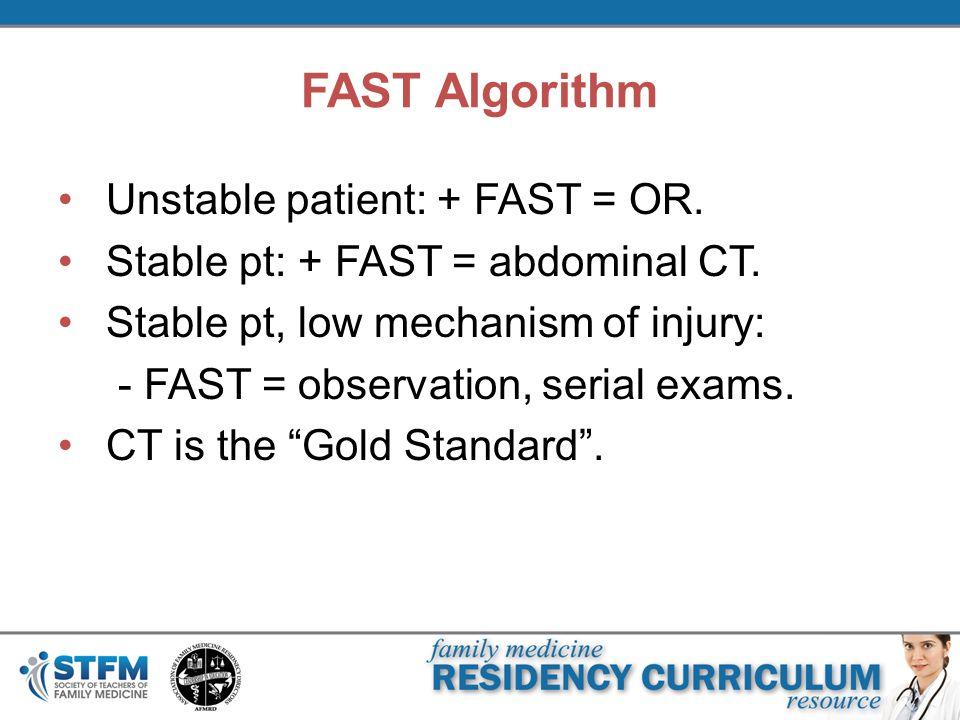 FAST Algorithm Unstable patient: + FAST = OR.