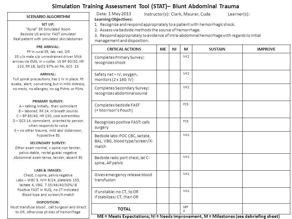 Simulation Training Assessment Tool (STAT)– Blunt Abdominal Trauma