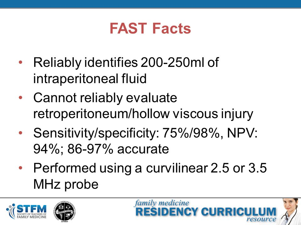 FAST Facts Reliably identifies 200-250ml of intraperitoneal fluid