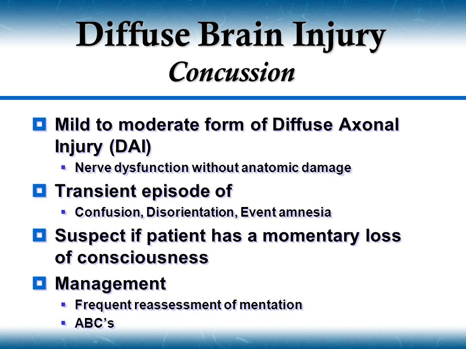 Diffuse Brain Injury Concussion