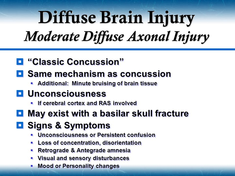 Diffuse Brain Injury Moderate Diffuse Axonal Injury