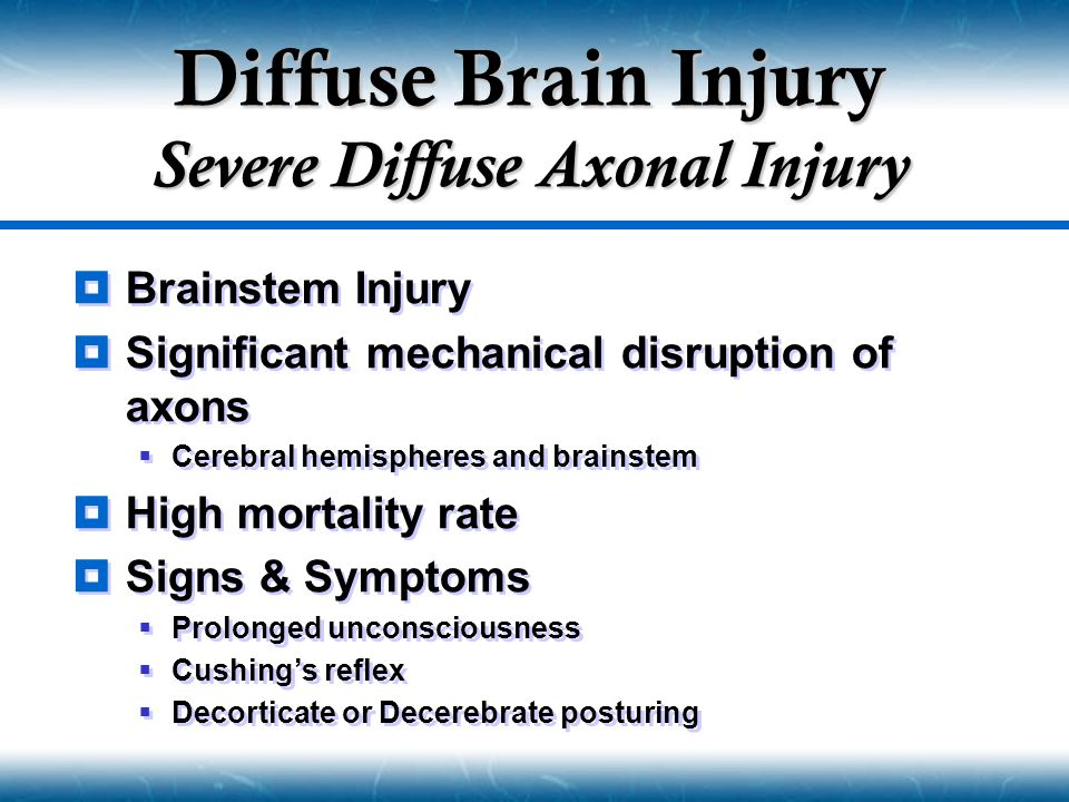 Diffuse Brain Injury Severe Diffuse Axonal Injury