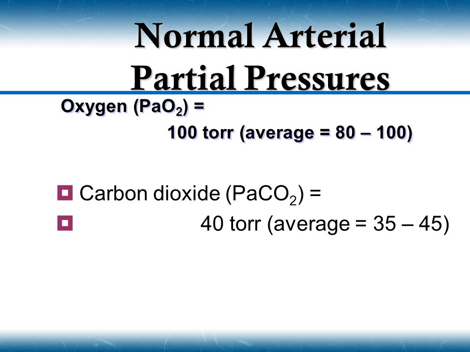 Normal Arterial Partial Pressures