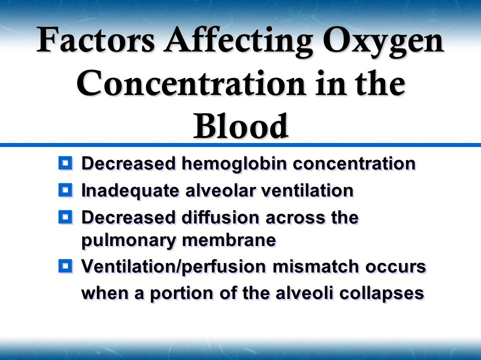 Factors Affecting Oxygen Concentration in the Blood