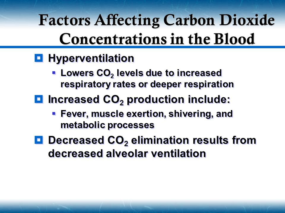 Factors Affecting Carbon Dioxide Concentrations in the Blood