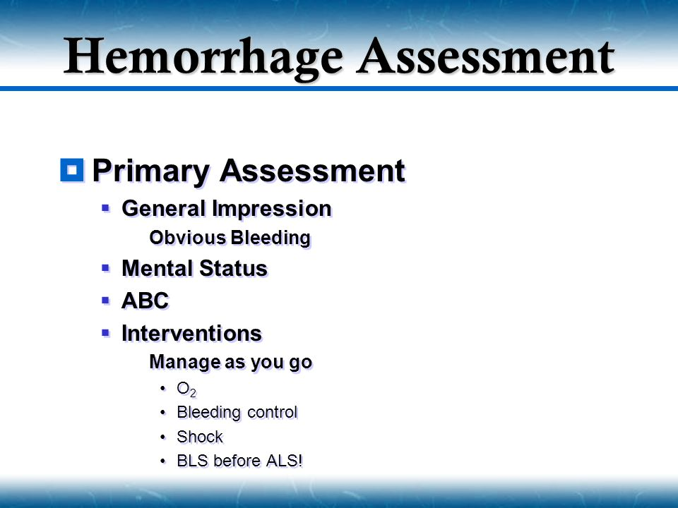 Hemorrhage Assessment