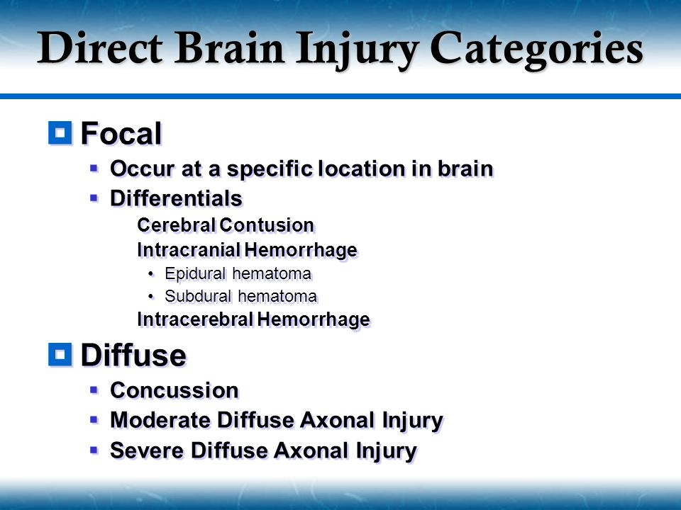 Direct Brain Injury Categories