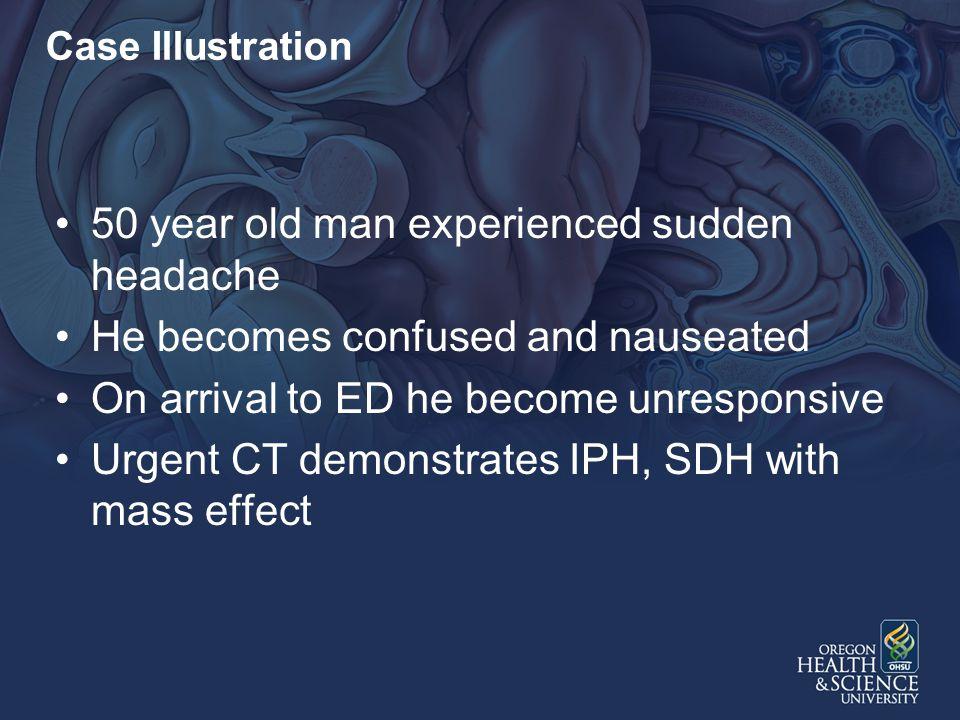50 year old man experienced sudden headache
