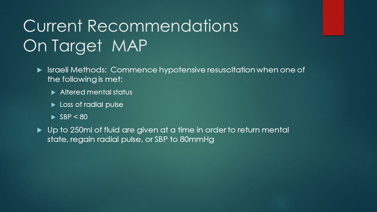 Current Recommendations On Target MAP