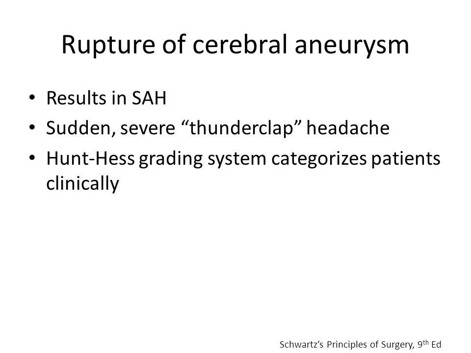 Rupture of cerebral aneurysm