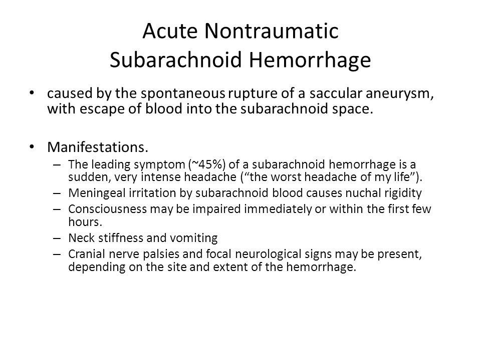 Acute Nontraumatic Subarachnoid Hemorrhage