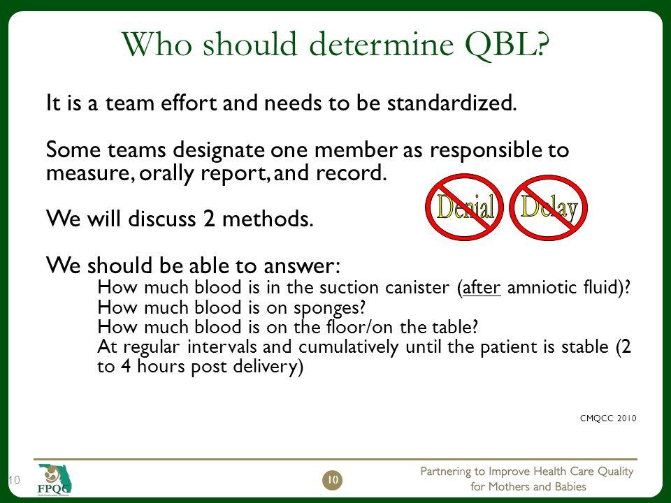 Who should determine QBL