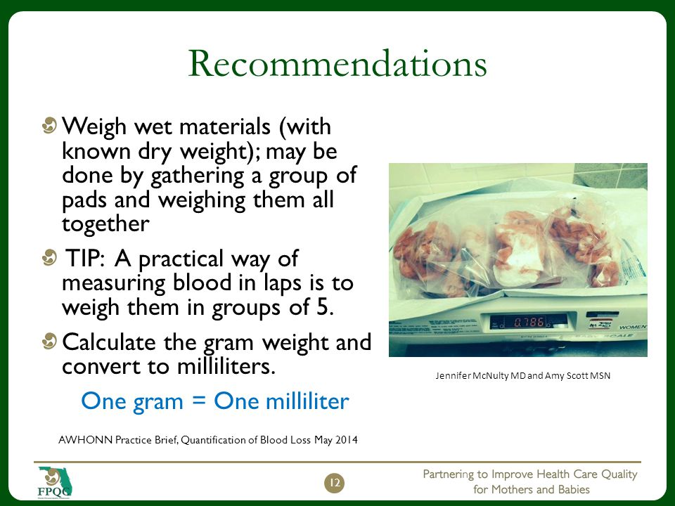Recommendations Weigh wet materials (with known dry weight); may be done by gathering a group of pads and weighing them all together.