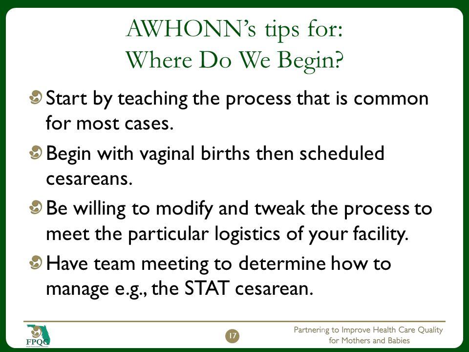 AWHONN's tips for: Where Do We Begin