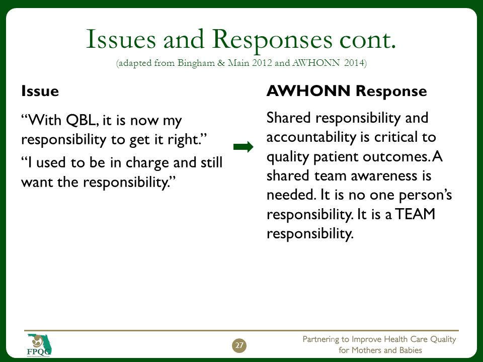 Issues and Responses cont