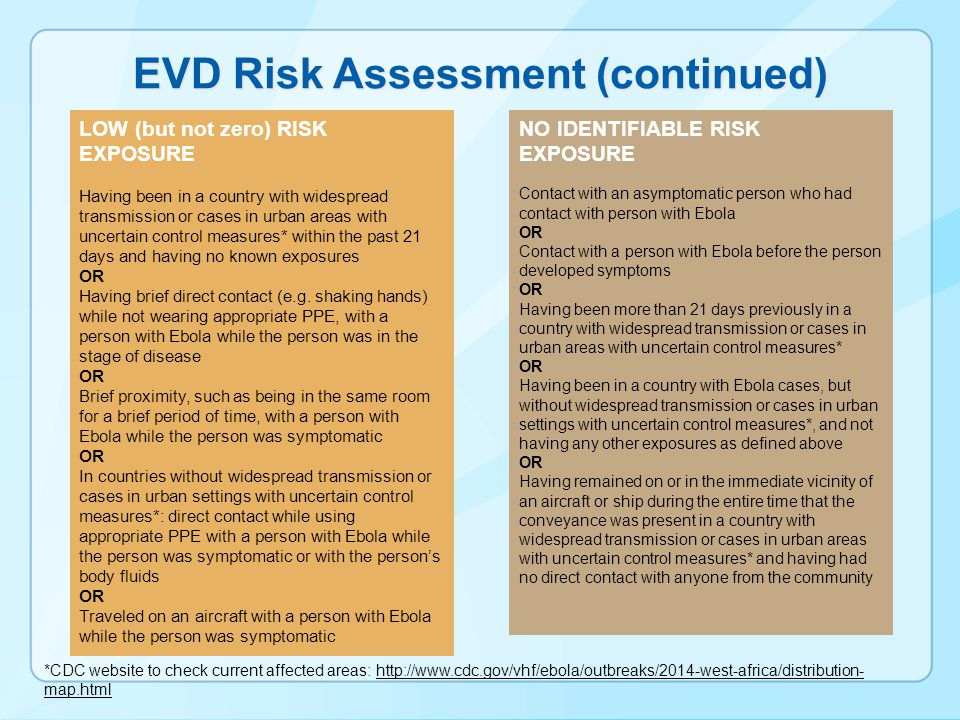EVD Risk Assessment (continued)