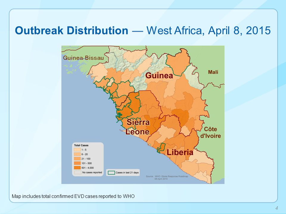 Outbreak Distribution — West Africa, April 8, 2015
