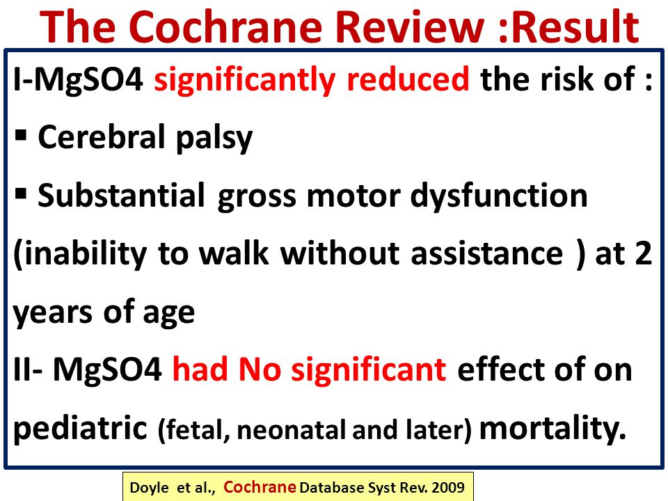 The Cochrane Review :Result