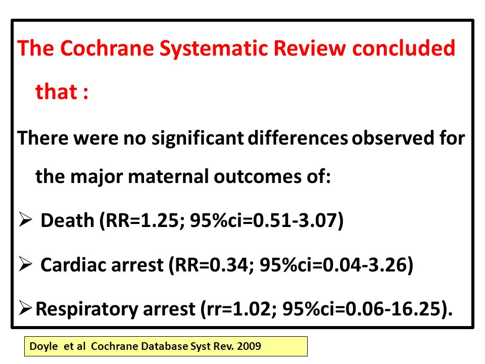 The Cochrane Systematic Review concluded that :