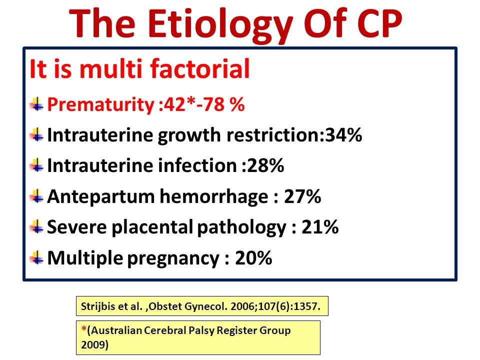 The Etiology Of CP It is multi factorial Prematurity :42*-78 %