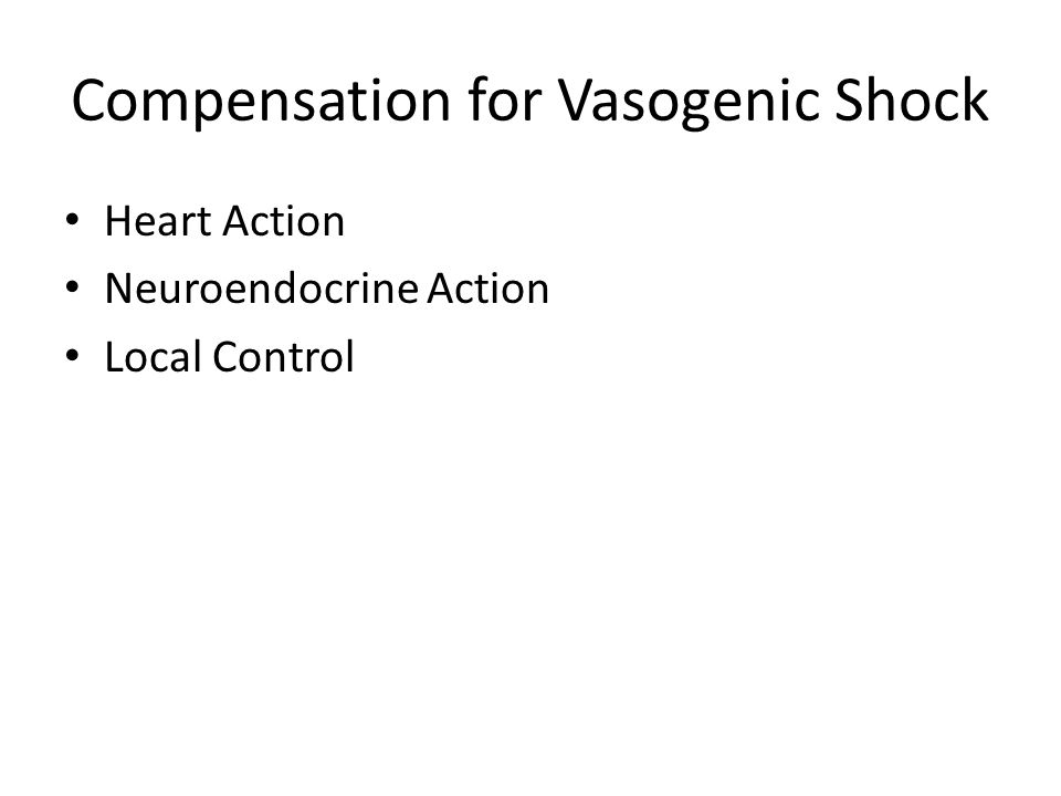 Compensation for Vasogenic Shock