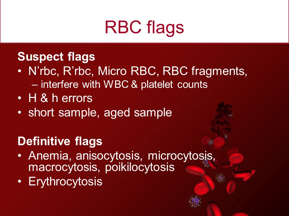 RBC flags Suspect flags N'rbc, R'rbc, Micro RBC, RBC fragments,