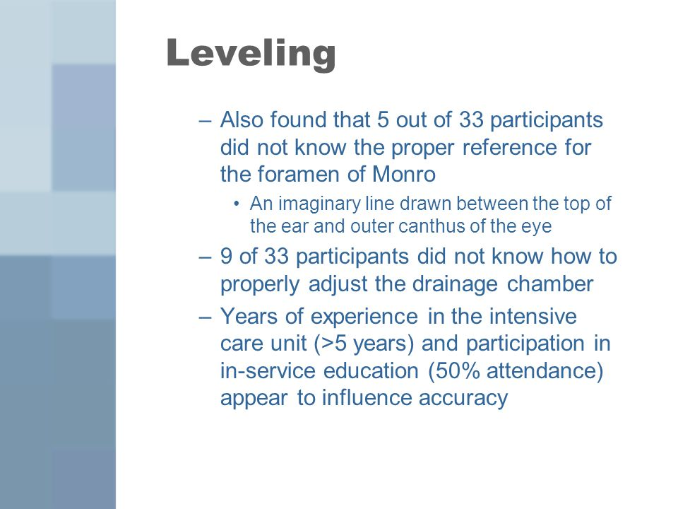 Leveling Also found that 5 out of 33 participants did not know the proper reference for the foramen of Monro.