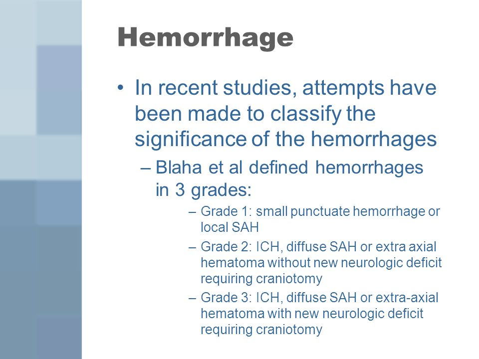 Hemorrhage In recent studies, attempts have been made to classify the significance of the hemorrhages.