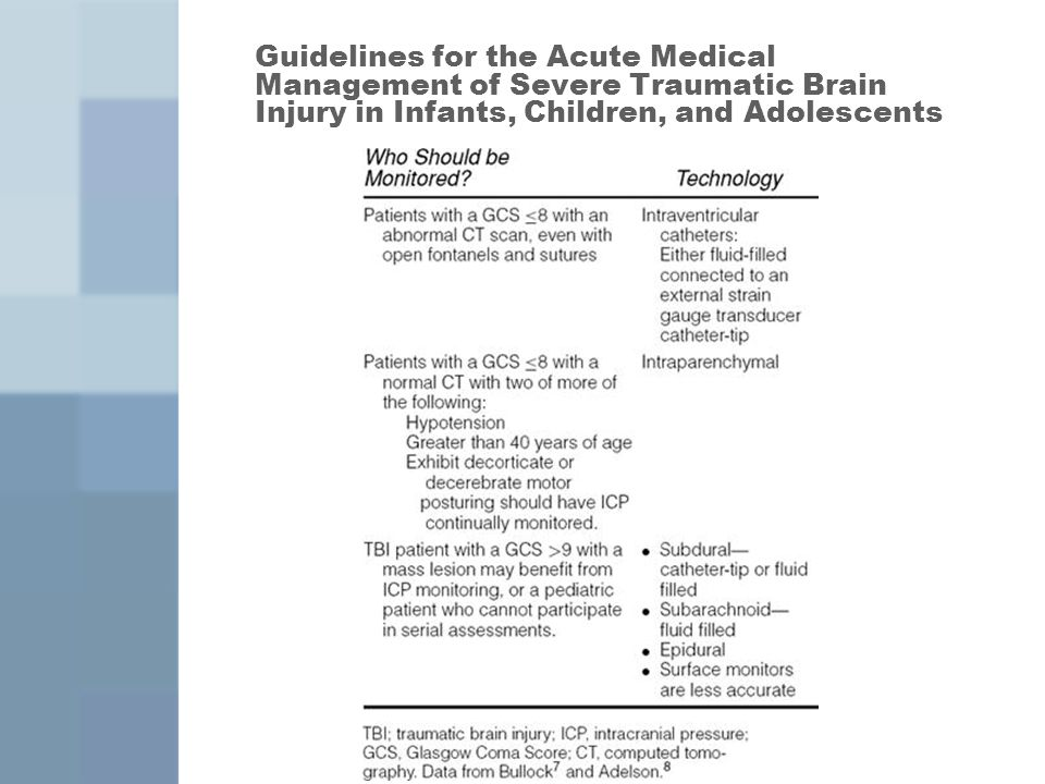 Guidelines for the Acute Medical Management of Severe Traumatic Brain Injury in Infants, Children, and Adolescents