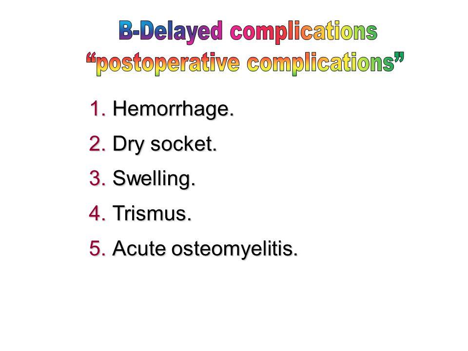 B-Delayed complications postoperative complications
