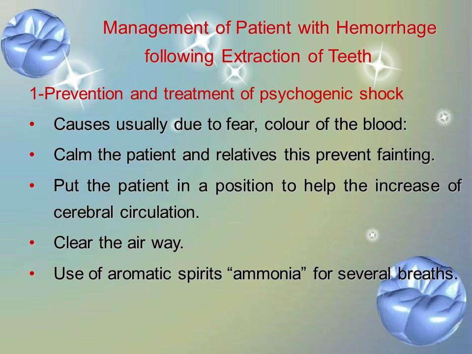 Management of Patient with Hemorrhage following Extraction of Teeth