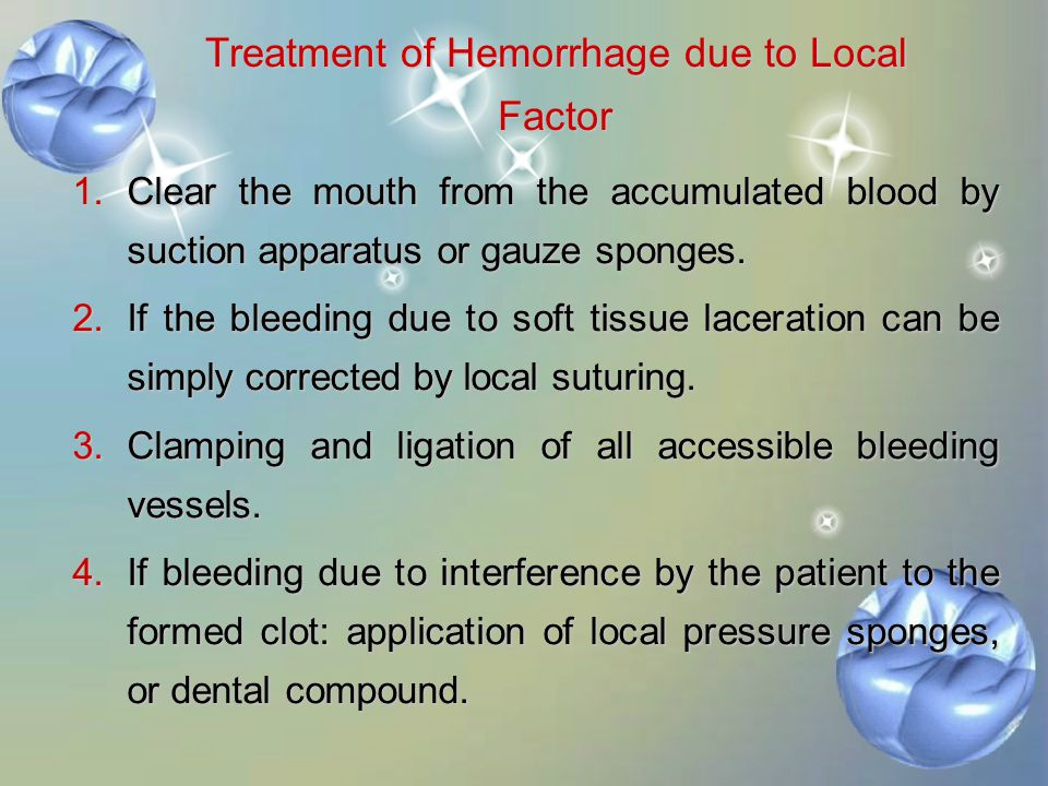 Treatment of Hemorrhage due to Local Factor