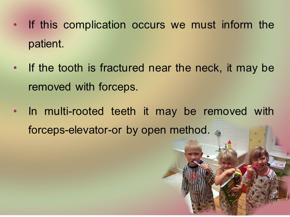If this complication occurs we must inform the patient.