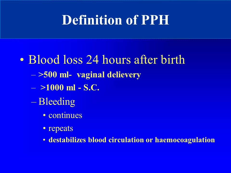 Definition of PPH Blood loss 24 hours after birth Bleeding