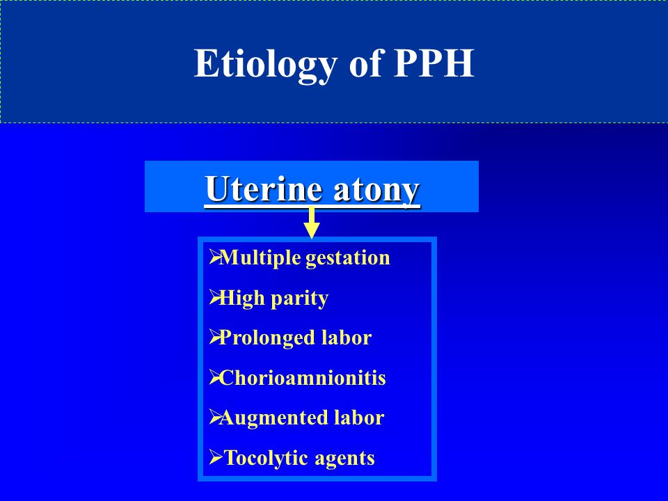 Etiology of PPH Uterine atony Multiple gestation High parity