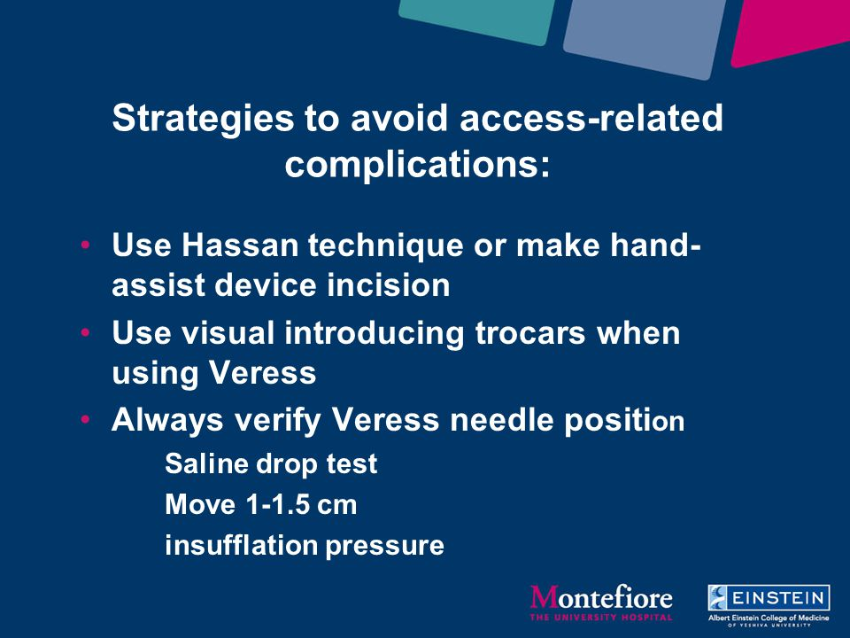 Strategies to avoid access-related complications: