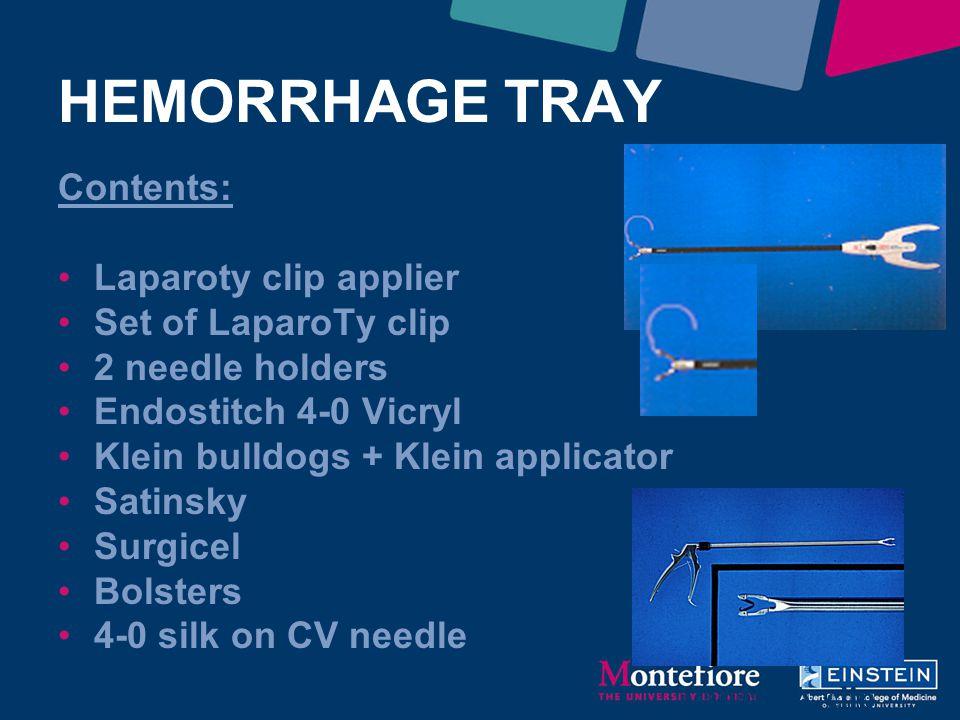 HEMORRHAGE TRAY Contents: Laparoty clip applier Set of LaparoTy clip