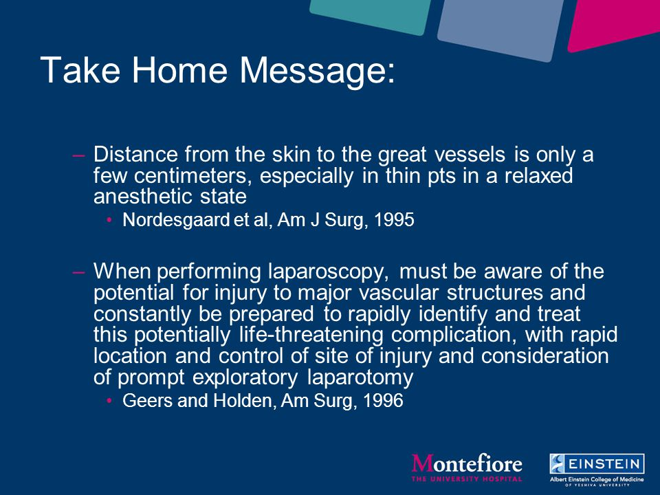 Take Home Message: Distance from the skin to the great vessels is only a few centimeters, especially in thin pts in a relaxed anesthetic state.