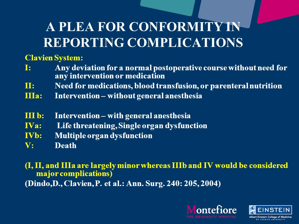 A PLEA FOR CONFORMITY IN REPORTING COMPLICATIONS