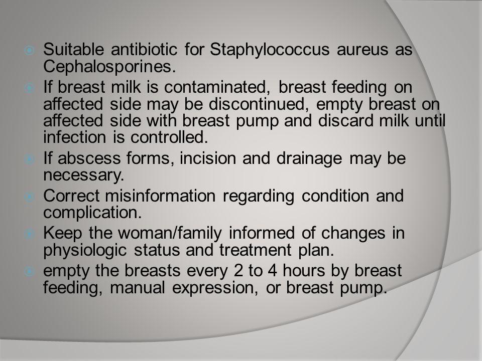 Suitable antibiotic for Staphylococcus aureus as Cephalosporines.