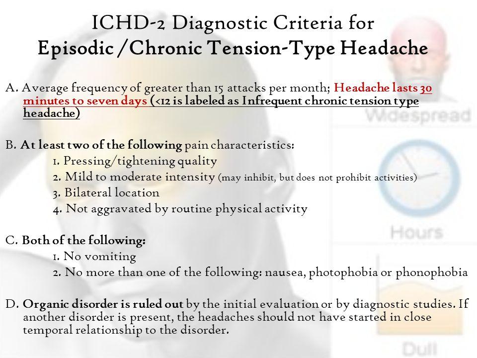 ICHD-2 Diagnostic Criteria for Episodic /Chronic Tension-Type Headache