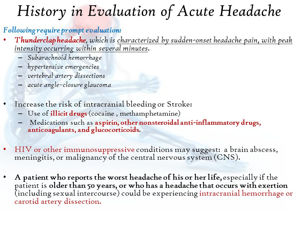 History in Evaluation of Acute Headache
