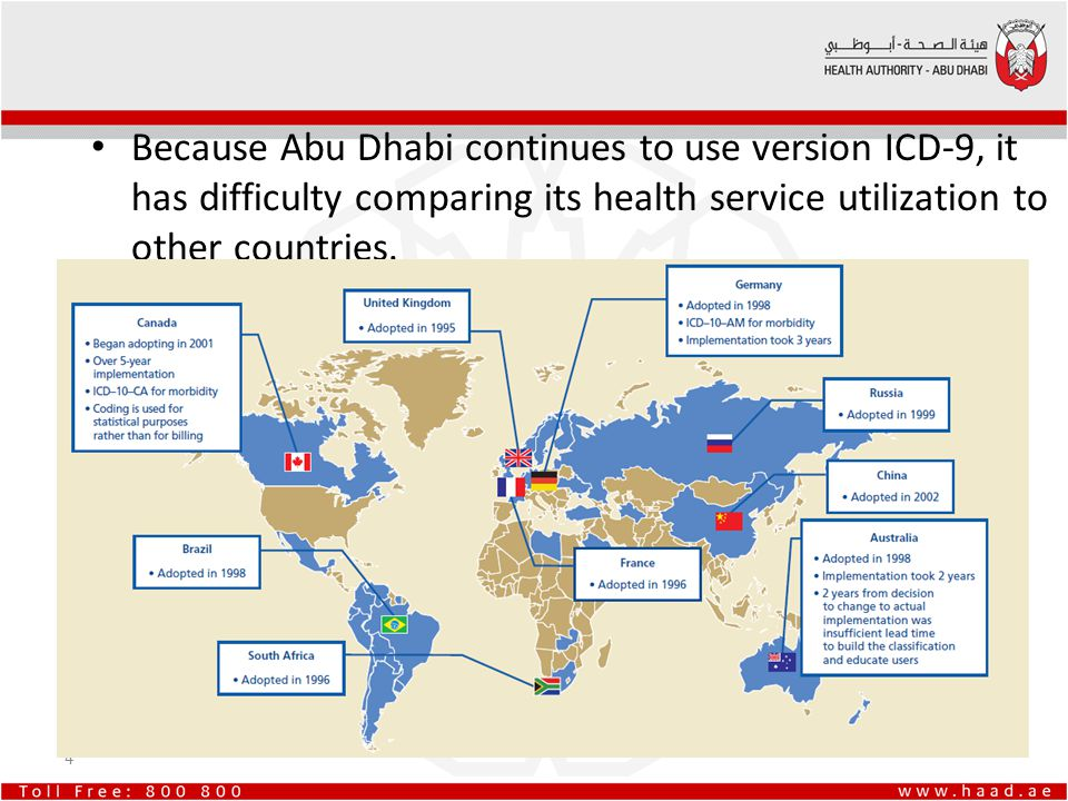 Because Abu Dhabi continues to use version ICD-9, it has difficulty comparing its health service utilization to other countries.